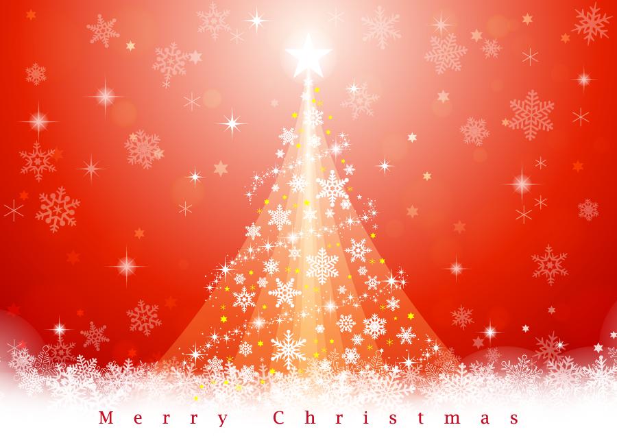フリーイラスト 雪の結晶のクリスマスツリー