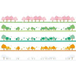 フリーイラスト, ベクター画像, AI, 飾り罫線(ライン), 自然, 樹木, 春, 夏, 秋, 冬, 桜(サクラ), 紅葉(黄葉), 雪