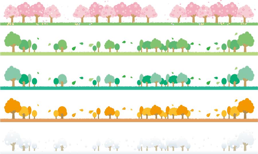 フリーイラスト 四季折々の並木の飾り罫線