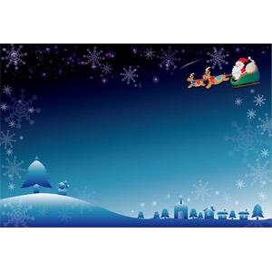 フリーイラスト, ベクター画像, AI, 背景, フレーム, 囲みフレーム, 年中行事, クリスマス, 12月, 冬, 雪, 雪の結晶, 夜, トナカイ, サンタクロース, ソリ, クリスマスツリー, 雪だるま