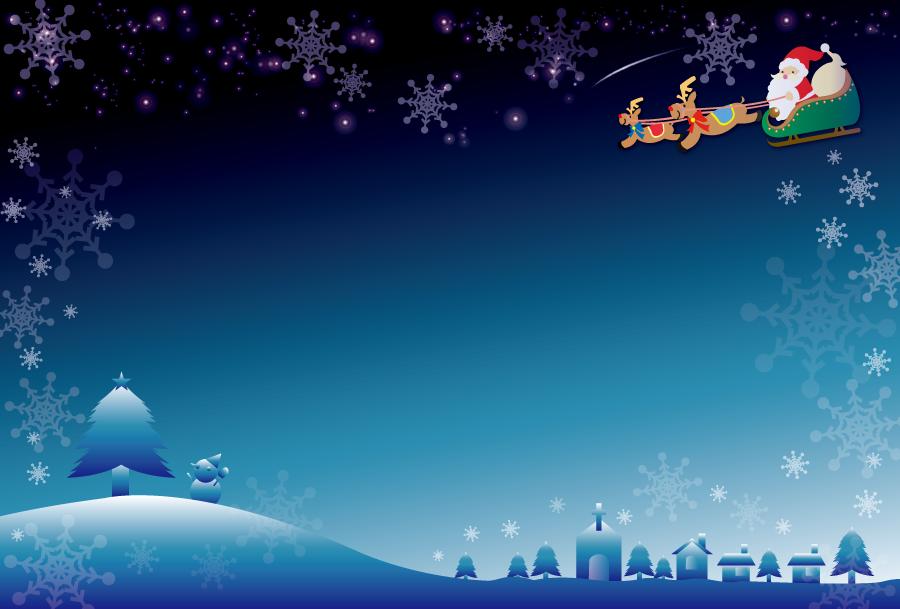 フリーイラスト クリスマスの夜を駆けるトナカイとサンタのフレーム