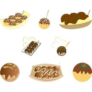フリーイラスト, ベクター画像, AI, 食べ物(食料), 料理, 粉物料理, 日本料理, 大阪府, たこ焼き(たこやき)