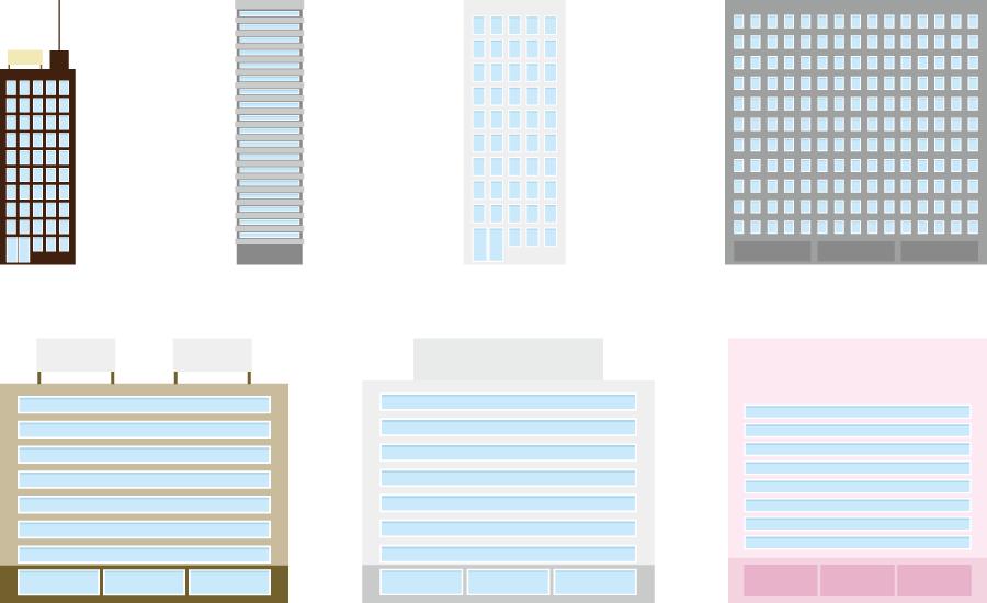 フリーイラスト 7種類の高層ビルのセット