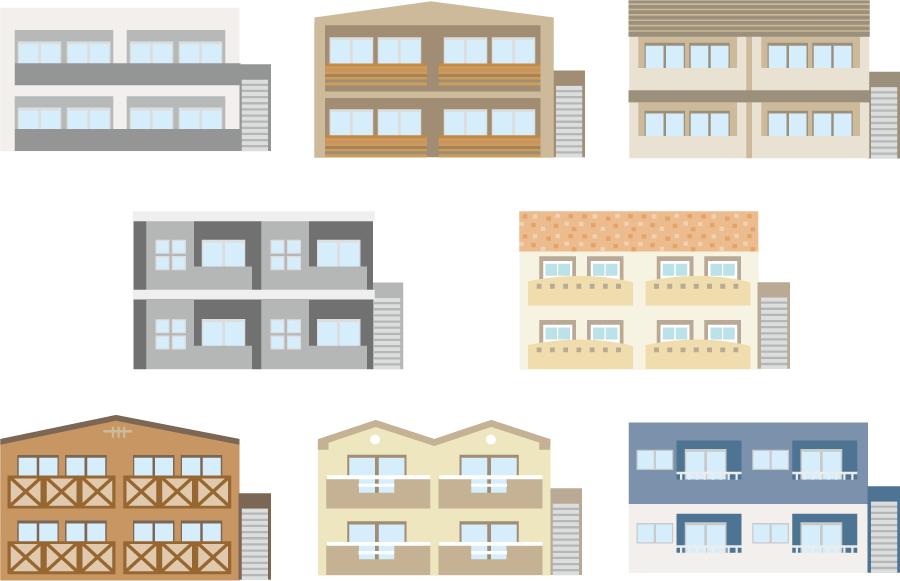 フリーイラスト 8種類のアパートのセット