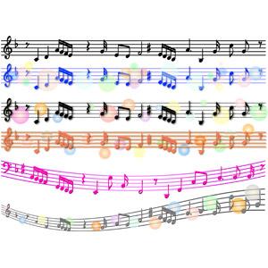 フリーイラスト, ベクター画像, AI, 音楽, 楽譜, 音符, 飾り罫線(ライン)