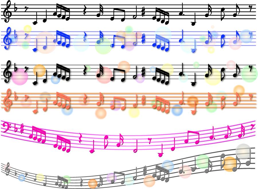 フリーイラスト 6種類の楽譜のラインセット