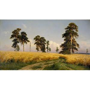 フリー絵画, イヴァン・シーシキン, 風景画, 畑, 麦(ムギ), ライ麦, 樹木, 田舎, ロシアの風景, 穀物