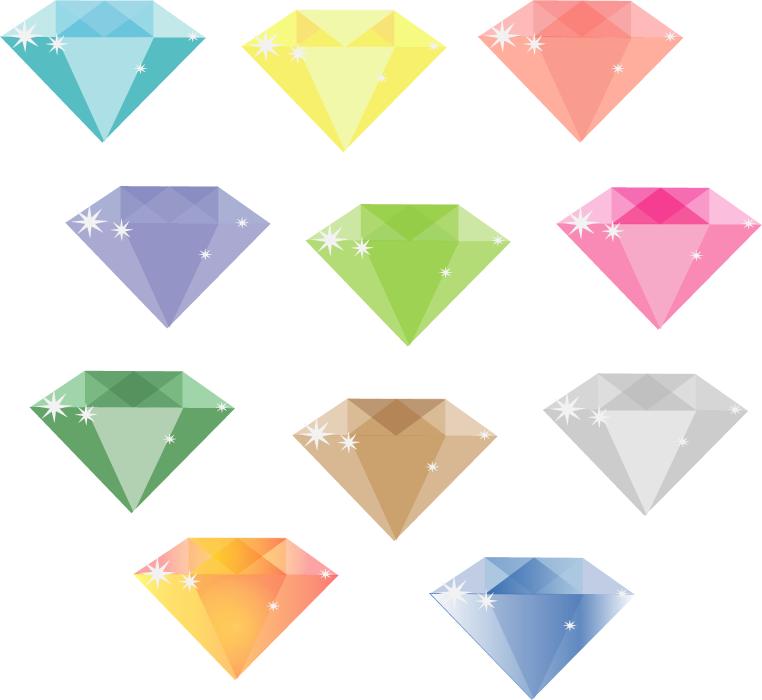 フリーイラスト 11種類のダイヤモンドのセット