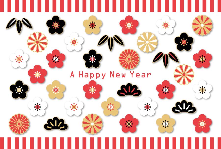 フリーイラスト 紅白幕と松竹梅と菊の新春の背景