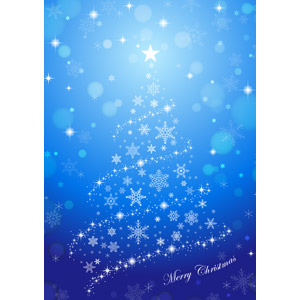 フリーイラスト, ベクター画像, AI, 背景, 年中行事, クリスマス, 12月, 冬, クリスマスツリー, 雪の結晶, メリークリスマス, 青色(ブルー)