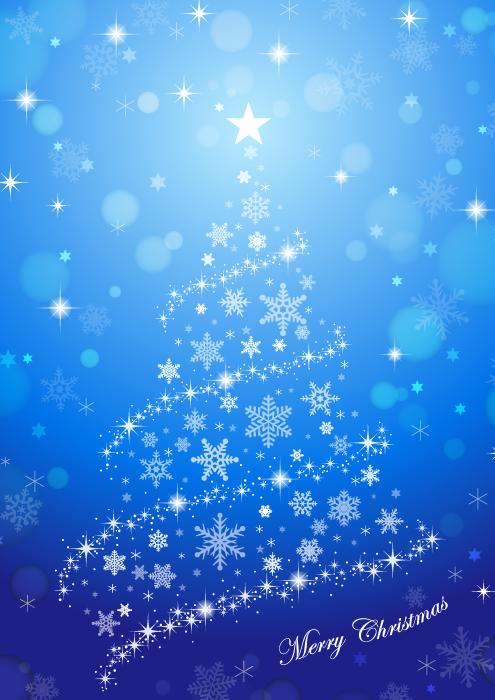 フリーイラスト 雪の結晶のクリスマスツリーと青色の背景