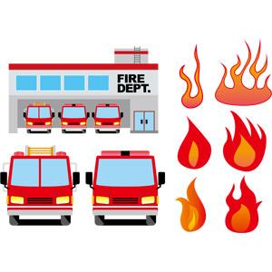 フリーイラスト, ベクター画像, AI, 消防, 消防署, 消防車, はしご車, 乗り物, 自動車, 働く車, 火(炎), 火事(火災)