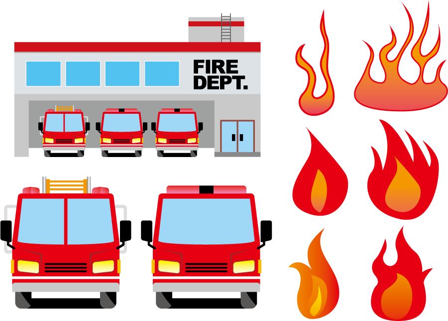 フリーイラスト 消防署と消防車と燃え上がる火のセット