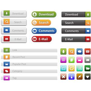 フリーイラスト, ベクター画像, EPS, ウェブボタン, アイコン, ダウンロード, 検索(サーチ), コメント, 電子メール(Eメール), リンク, カテゴリ, タグ, ホーム, ファイルを開く, 閉じる, 更新, 購読, パスワード