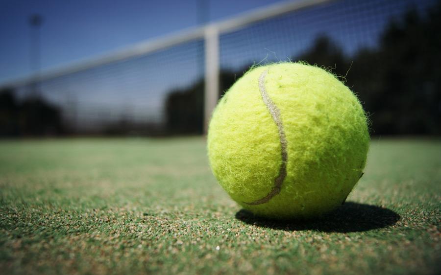 フリー写真 テニスボールの転がるテニスコート