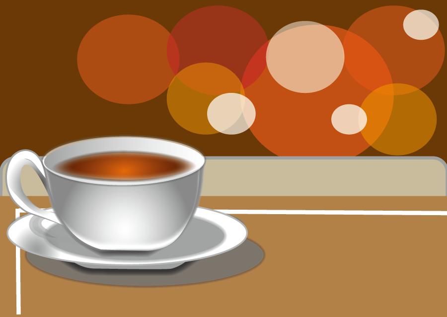フリーイラスト 喫茶店でのホットコーヒー