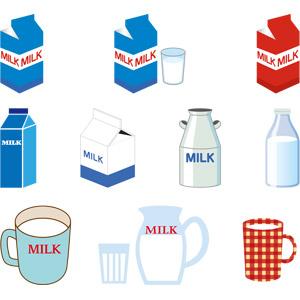 フリーイラスト, ベクター画像, AI, 飲み物(飲料), 牛乳(ミルク), 紙パック, マグカップ