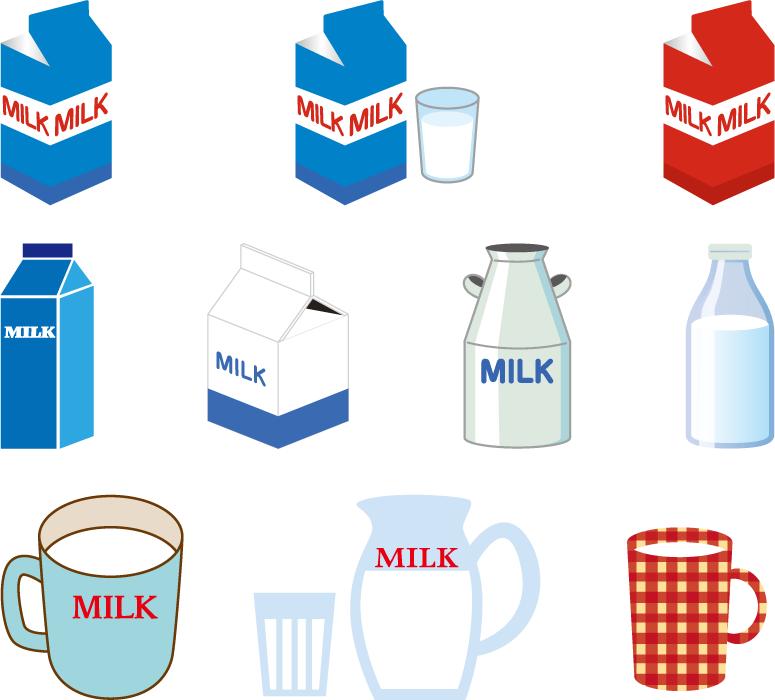 フリーイラスト 10種類の牛乳のセット