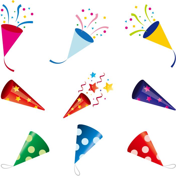 フリーイラスト 9種類のパーティークラッカーのセット