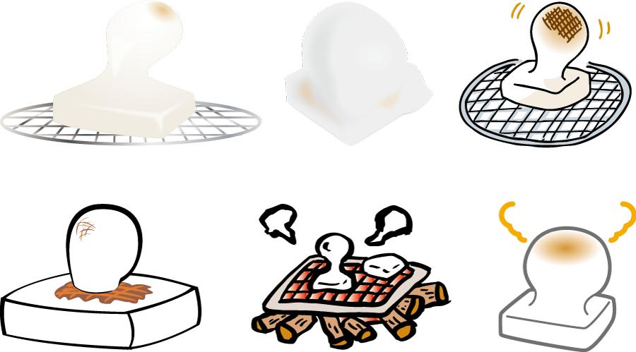 フリーイラスト 6種類の焼餅のセット