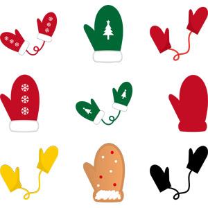 フリーイラスト, ベクター画像, AI, 防寒具, 手袋, ミトン, 冬