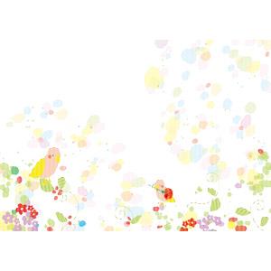フリーイラスト, ベクター画像, AI, 背景, 小鳥, 植物, 花, パステルカラー