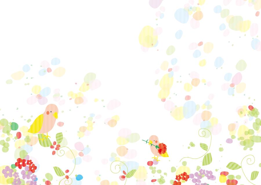 フリーイラスト 花と小鳥の背景