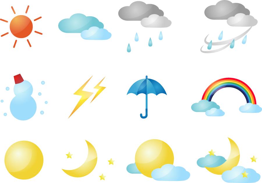 フリーイラスト 12種類の天気のセット