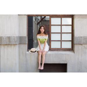 フリー写真, 人物, 女性, アジア人女性, Dora(00078), 中国人, ミニスカート, 麦わら帽子