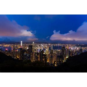 フリー写真, 風景, 建造物, 建築物, 高層ビル, 都市, 街並み(町並み), 夜景, 中国の風景, 香港, 雲