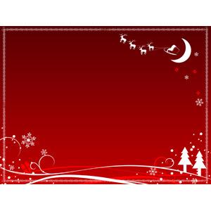 フリーイラスト, ベクター画像, AI, 背景, フレーム, 囲みフレーム, 年中行事, クリスマス, 12月, 雪の結晶, トナカイ, サンタクロース, ソリ, 冬, クリスマスプレゼント