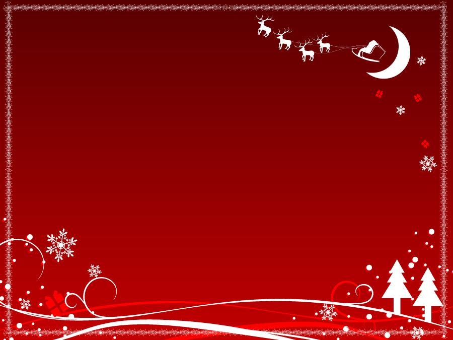 フリーイラスト 赤色の背景とクリスマスのフレーム