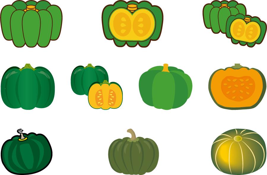 フリーイラスト 10種類の緑色のかぼちゃのセット