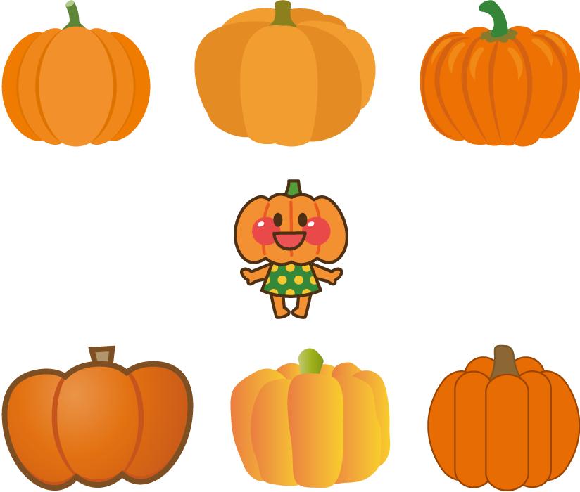 フリーイラスト 7種類のオレンジ色のかぼちゃのセット