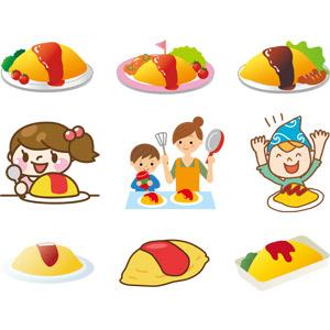 フリーイラスト, ベクター画像, AI, 食べ物(食料), 料理, 日本料理, 洋食, オムライス, 卵料理, 米料理, ケチャップ