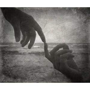 フリー写真, 人体, 指, 手, 指を合わせる, カップル, モノクロ