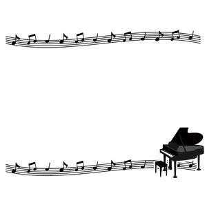 フリーイラスト, ベクター画像, AI, 背景, フレーム, 上下フレーム, 音楽, 楽譜, 音符, 楽器, 鍵盤楽器, ピアノ