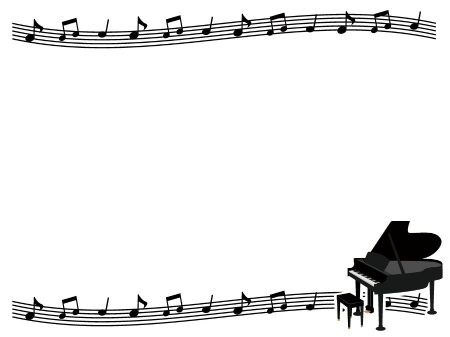 フリーイラスト ピアノと楽譜の飾り枠