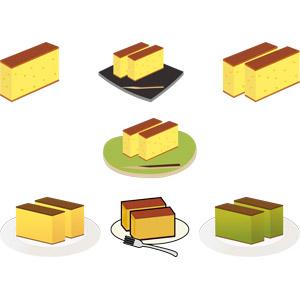 フリーイラスト, ベクター画像, AI, 食べ物(食料), 菓子, 洋菓子, スイーツ, ケーキ, カステラ, 長崎県