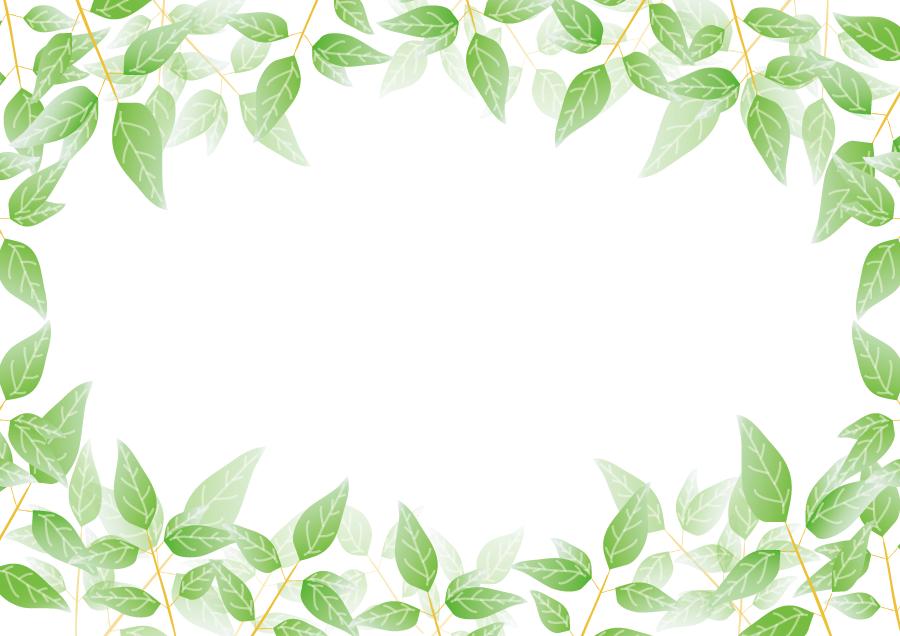フリーイラスト 緑の葉っぱのフレーム