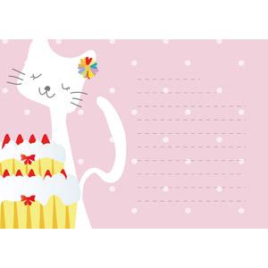 フリーイラスト, ベクター画像, AI, 背景, メッセージカード, 動物, 哺乳類, 猫(ネコ), 白猫, 食べ物(食料), 菓子, 洋菓子, スイーツ, ケーキ