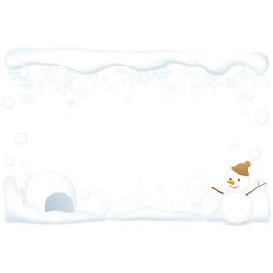 フリーイラスト, ベクター画像, AI, 背景, フレーム, 上下フレーム, 冬, 雪, 雪だるま, かまくら