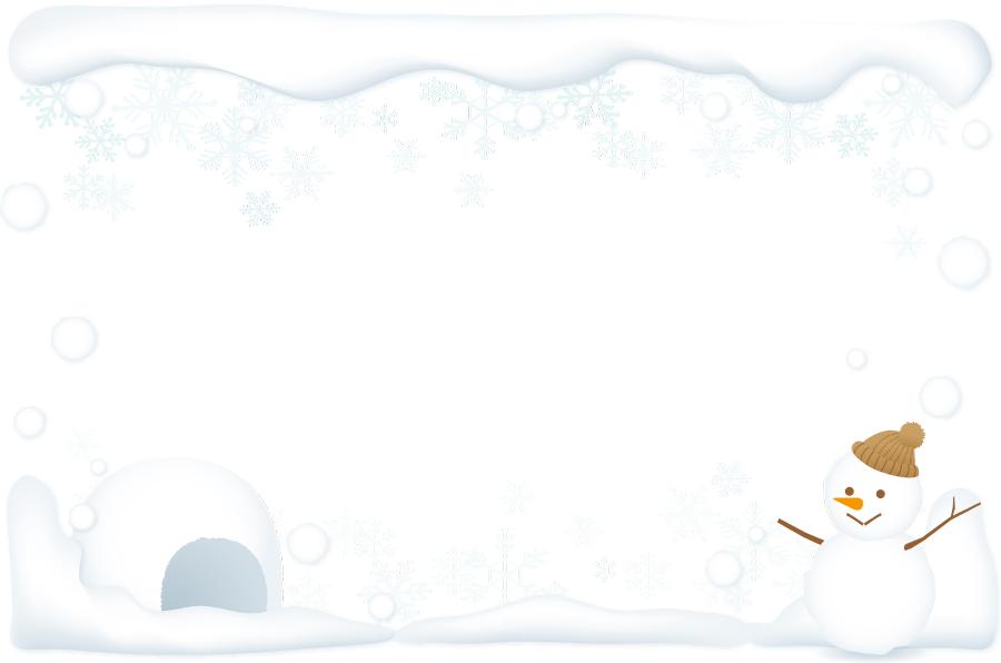 フリーイラスト 雪だるまとかまくらの飾り枠