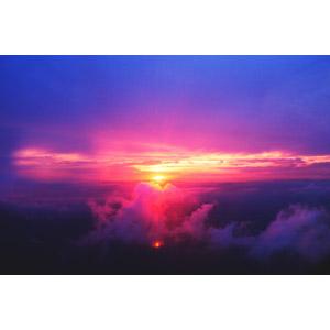 フリー写真, 風景, 自然, 雲, 雲海, 夕暮れ(夕方), 夕焼け, 夕日, 日の入り