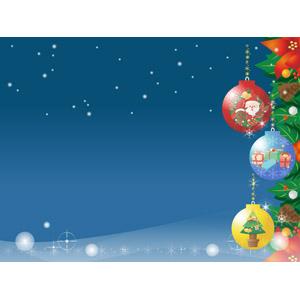 フリーイラスト, ベクター画像, AI, 背景, 年中行事, クリスマス, 12月, 冬, 雪, 夜, クリスマスボール, ポインセチア, 松ぼっくり(松笠)