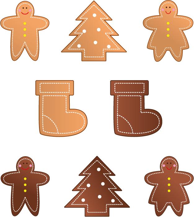 フリーイラスト 8種類のジンジャークッキーのセット