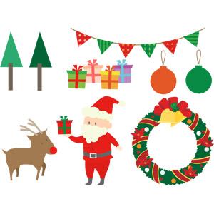 フリーイラスト, ベクター画像, AI, 年中行事, クリスマス, 12月, 樹木, フラッグガーランド, クリスマスプレゼント, クリスマスボール, トナカイ, サンタクロース, クリスマスリース
