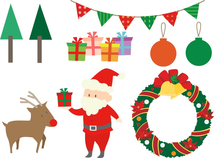フリーイラスト サンタクロースなどの7種類のクリスマスセット