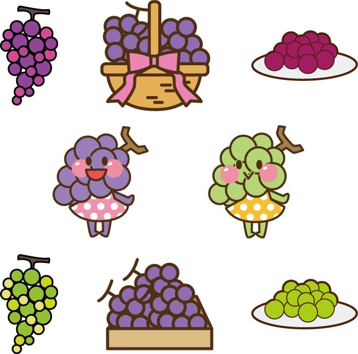 フリーイラスト 8種類のぶどうのセット