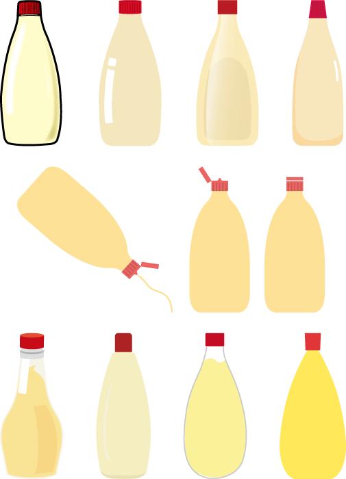 フリーイラスト 11種類のマヨネーズのセット